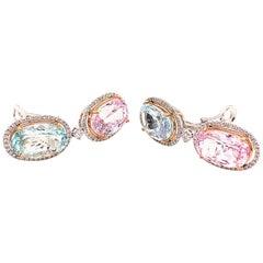 18 Karat White Gold and 13.43 Carat Kunzite and 19.53 Carat Aquamarine Earrings