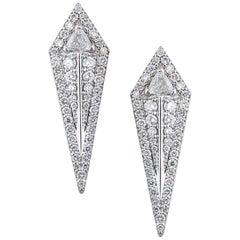 18 Karat White Gold and 1.66 Carat Colorless Diamond Arrow Studs Earrings