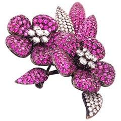 18 Karat White Gold and 17.41 Carat Pink Sapphire Flower Diamond Brooch
