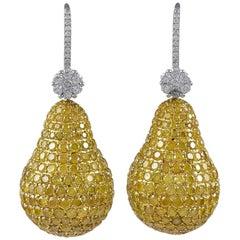 18 Karat White Gold and 18 Karat Yellow Gold 21.43 Carat Diamond Earrings
