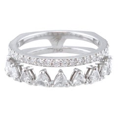 18 Karat White Gold and 2.19 Carat Colorless Diamond Spear Ring, Alessa Jewelry