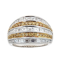 2.35 TCW Fancy Yellow Round Diamond and White Baguette Diamond Cocktail Ring 18k