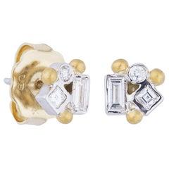 18 Karat White Gold and 24 Karat Gold, Diamond Stud Earrings