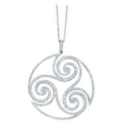18 Karat White Gold and 2.75 Carat Diamond Swirly Round Pendant