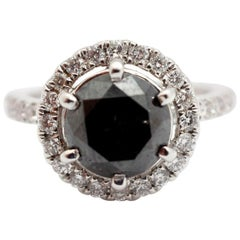 18 Karat White Gold and 3.45 Carat Round Brilliant-Cut Black Diamond Ring