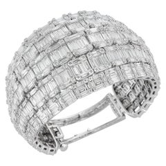 18 Karat White Gold and 38.32 Carat Diamond Bangle-Cuff Bracelet