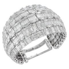 18 Karat White Gold and 38.32 Carat Diamond Bangle-Cuff Bracelet