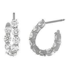 18 Karat White Gold and 4.15 Carat Diamond Curved Hoop Earrings