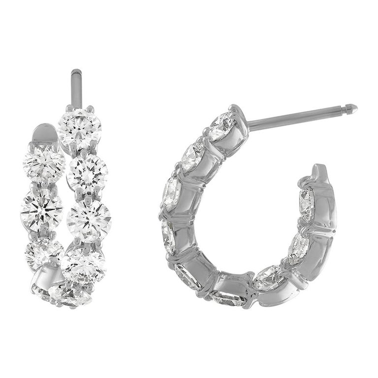 18 Karat White Gold and 4.15 Carat Diamond Curved Hoop Earrings For Sale