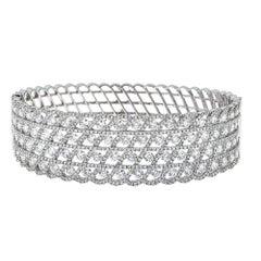 18 Karat White Gold and 9.39 Carat Diamond Cuff Bracelet