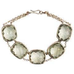 18 Karat White Gold and Amethyst Chain Bracelet