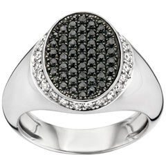 18 Karat White Gold and Black and White Diamond Signet Ring
