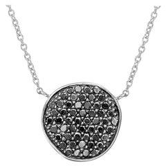 18 Karat White Gold and Black Diamond Disc Pendant