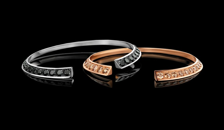 """A collection Inspired by modern dance, a song of the body captured in a jewel. """"You were wild once, don't let them tame you"""" This bracelet is handmade in Antwerp using 18kt White Gold and a dégradé of 3.5ct Black, natural Diamonds (30"""