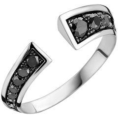 18 Karat White Gold and Black Diamond Flow Ring