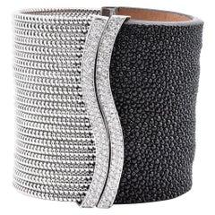 18 Karat White Gold and Black Stingray Cuff Bracelet
