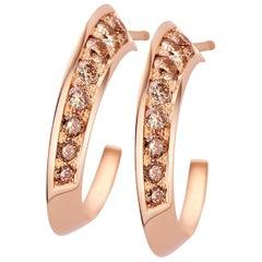 18 Karat White Gold and Brown Diamond S-Flow Earring