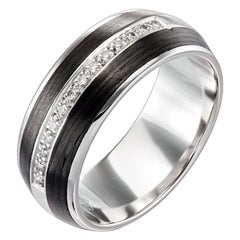 18 Karat White Gold and Carbon Fiber Diamond Rounded Band
