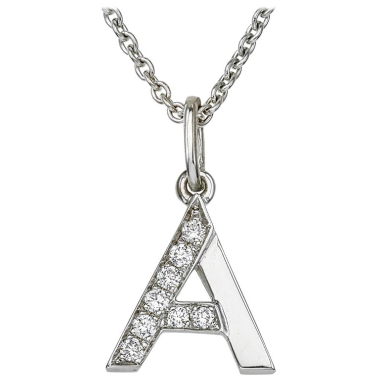 18 Karat White Gold and Diamond A-Initial Necklace/Pendant For Sale