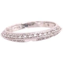 18 Karat White Gold and Diamond Band / Bridal Ring 0.13 Total Diamond Weight