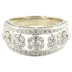 18 Karat White Gold and Diamond Band Ring