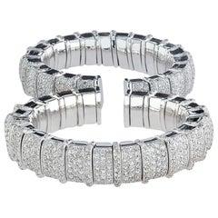 18 Karat White Gold and Diamond Bangle Bracelet- 13.65 CT