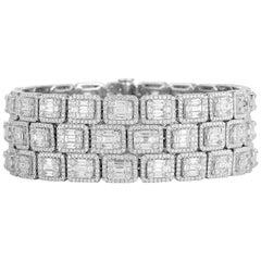 18 Karat White Gold and Diamond Bangle-Cuff Bracelet