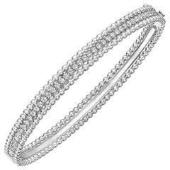 18 Karat White Gold and Diamond Bead Border Bangle