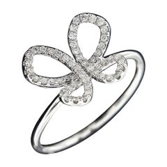 18 Karat White Gold and Diamond Butterfly Ring