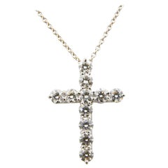 18 Karat White Gold and Diamond Cross Pendant