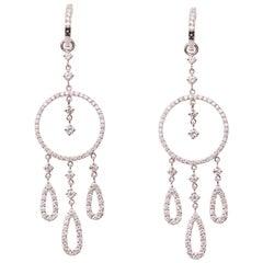 18 Karat White Gold and Diamond Dangle Earrings