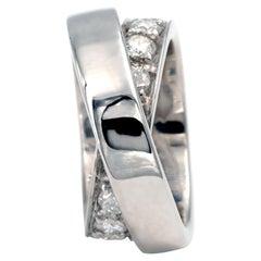 18 Karat White Gold and Diamond Double Band Ring