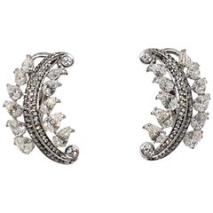 18 Karat White Gold and Diamond Earrings