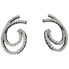 18 Karat White Gold and Diamond Earrings in Double Swirl