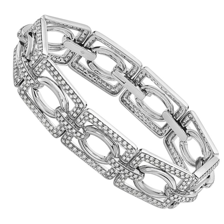 18 Karat White Gold and Diamond Fashion Bracelet For Sale
