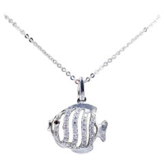 18 Karat White Gold and Diamond Fish Necklace
