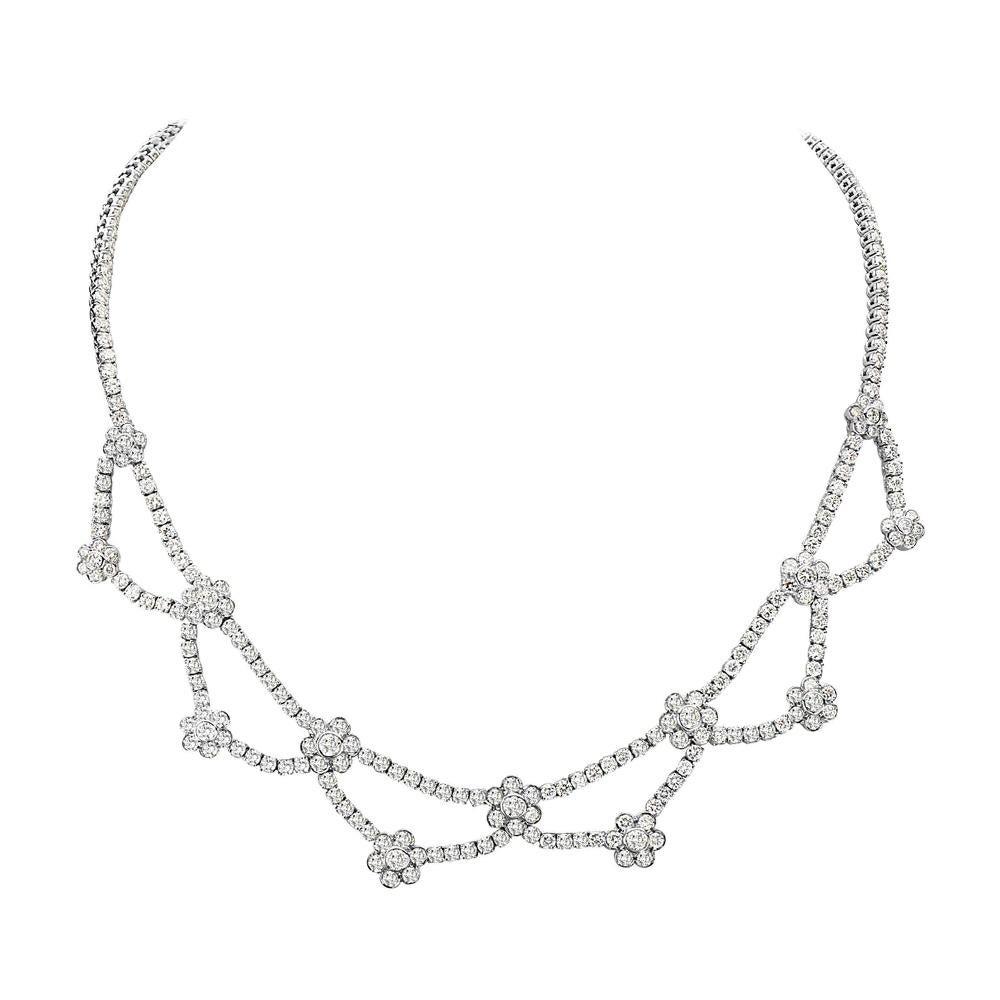 18 Karat White Gold and Diamond Flower Riviera Necklace