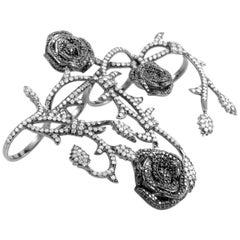18 Karat White Gold and Diamond Four-Finger Ring