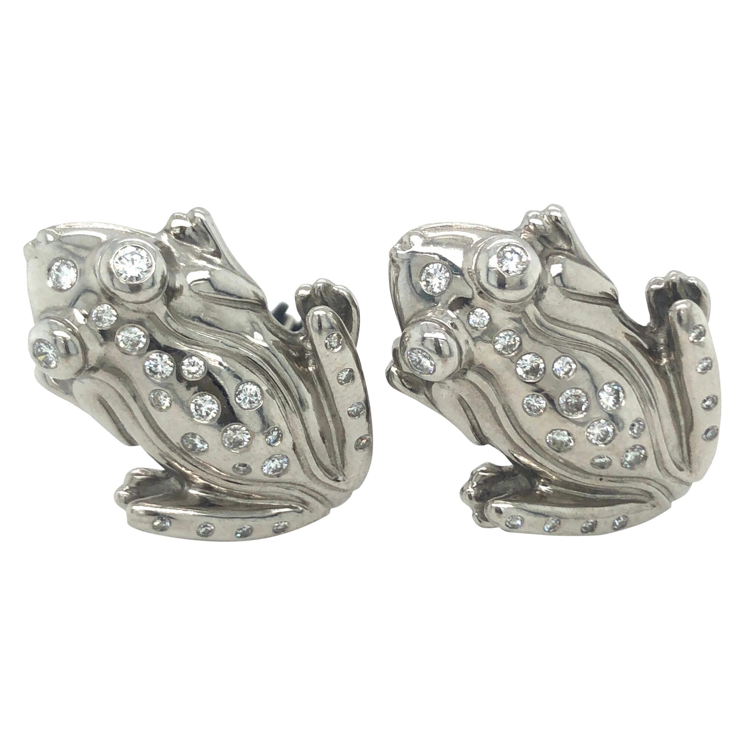 18 Karat White Gold and Diamond Frog Clip-On Earrings