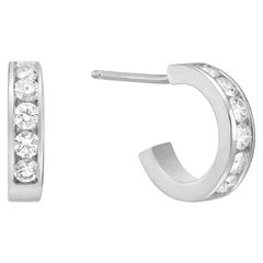 18 Karat White Gold and Diamond Huggie Earrings