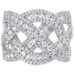 Roman Malakov 18 Karat White Gold and Diamond Intertwined Band Ring