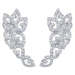 18 Karat White Gold and Diamond Kashmir Swirl Earrings