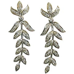 18 Karat White Gold and Diamond Leaf Earrings