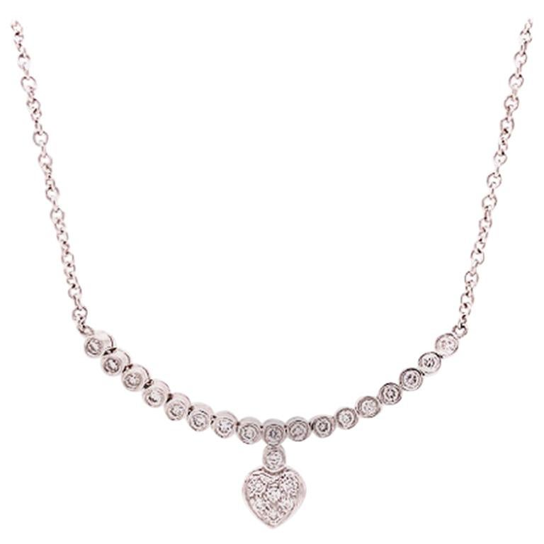 18 Karat White Gold and Diamond Necklace with a Heart Motif on Chain