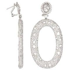 18 Karat White Gold and Diamond Oval Drop Earrings