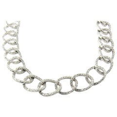 18 Karat White Gold and Diamond Oval Link Necklace