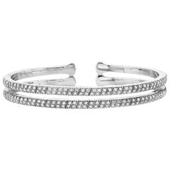 18 Karat White Gold and Diamond Pave Bangle Braceclet