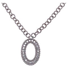 18 Karat White Gold and Diamond Pendant / Necklace