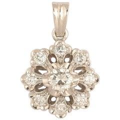 18 Karat White Gold and Diamond Pendant/Necklace