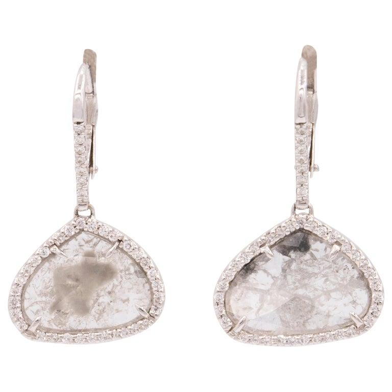 18 Karat White Gold and Diamond Slice Drop Earrings For Sale